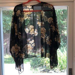 Forever 21 black & yellow floral sheer kimono